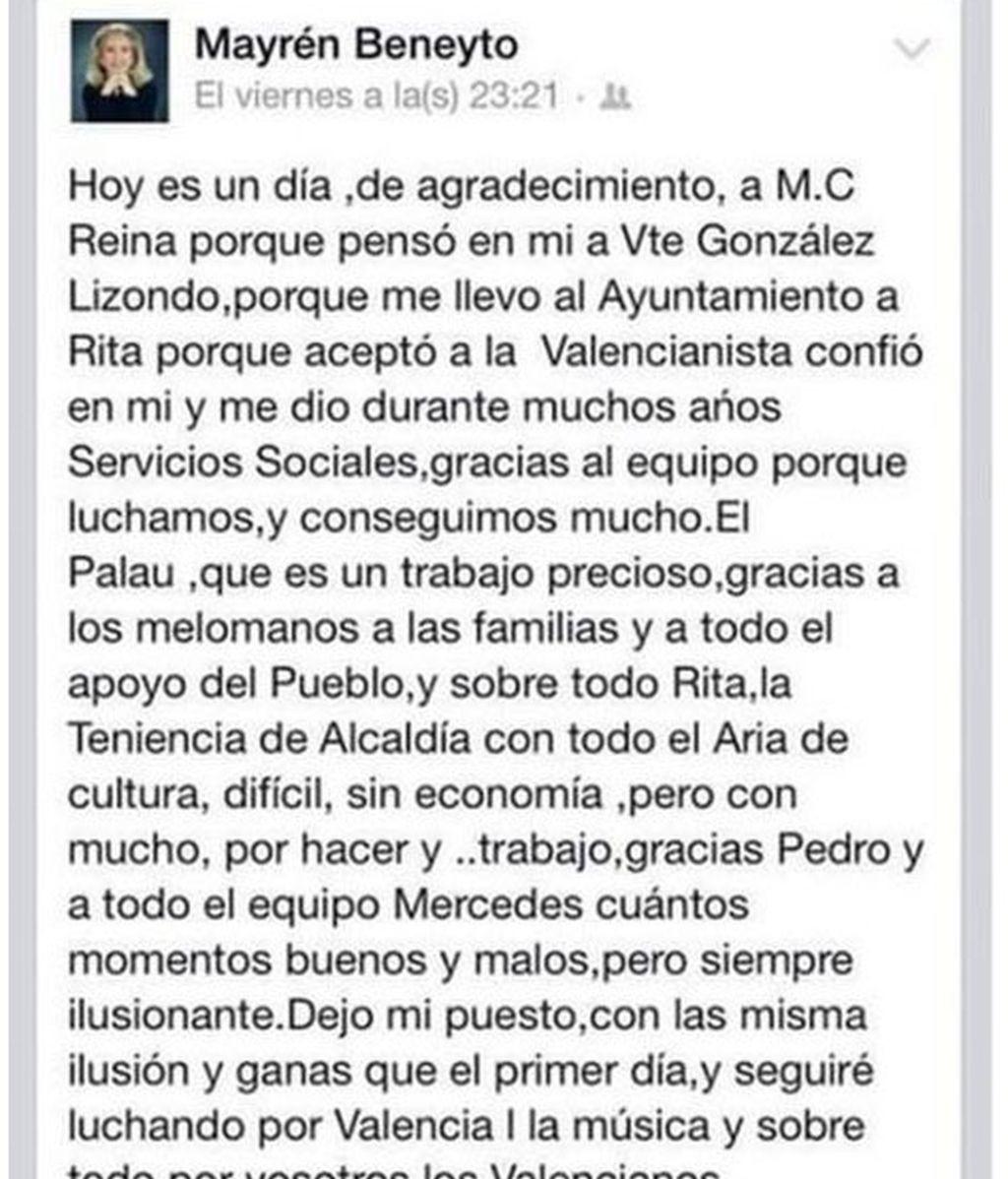 Valencia,Mayrén Beneyto,despedida en Facebook