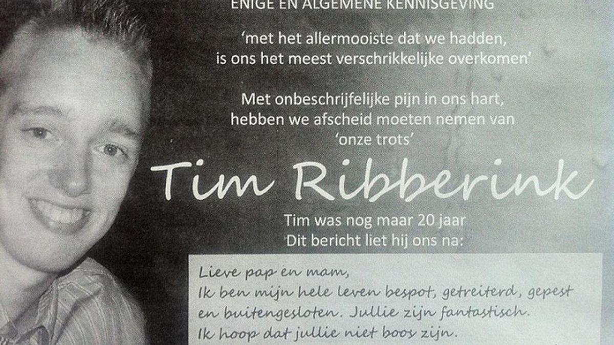 Suicidio Tim Ribberink, joven acosado, ciberacoso