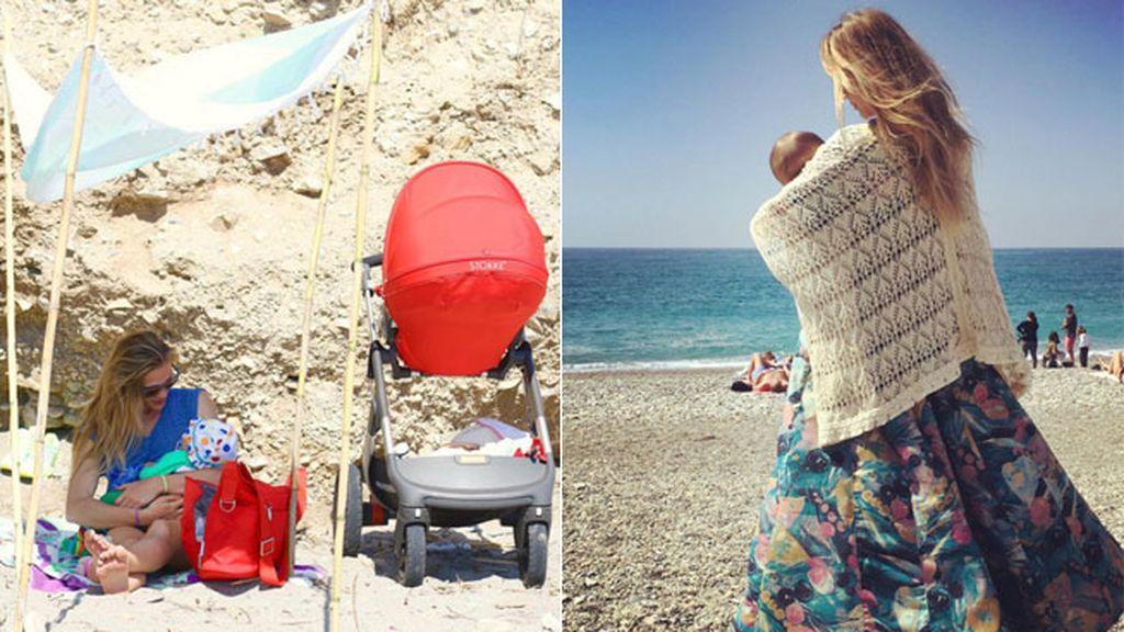 Patricia Montero con la pequeña Lis en la Playa de la Herradura (Granada)