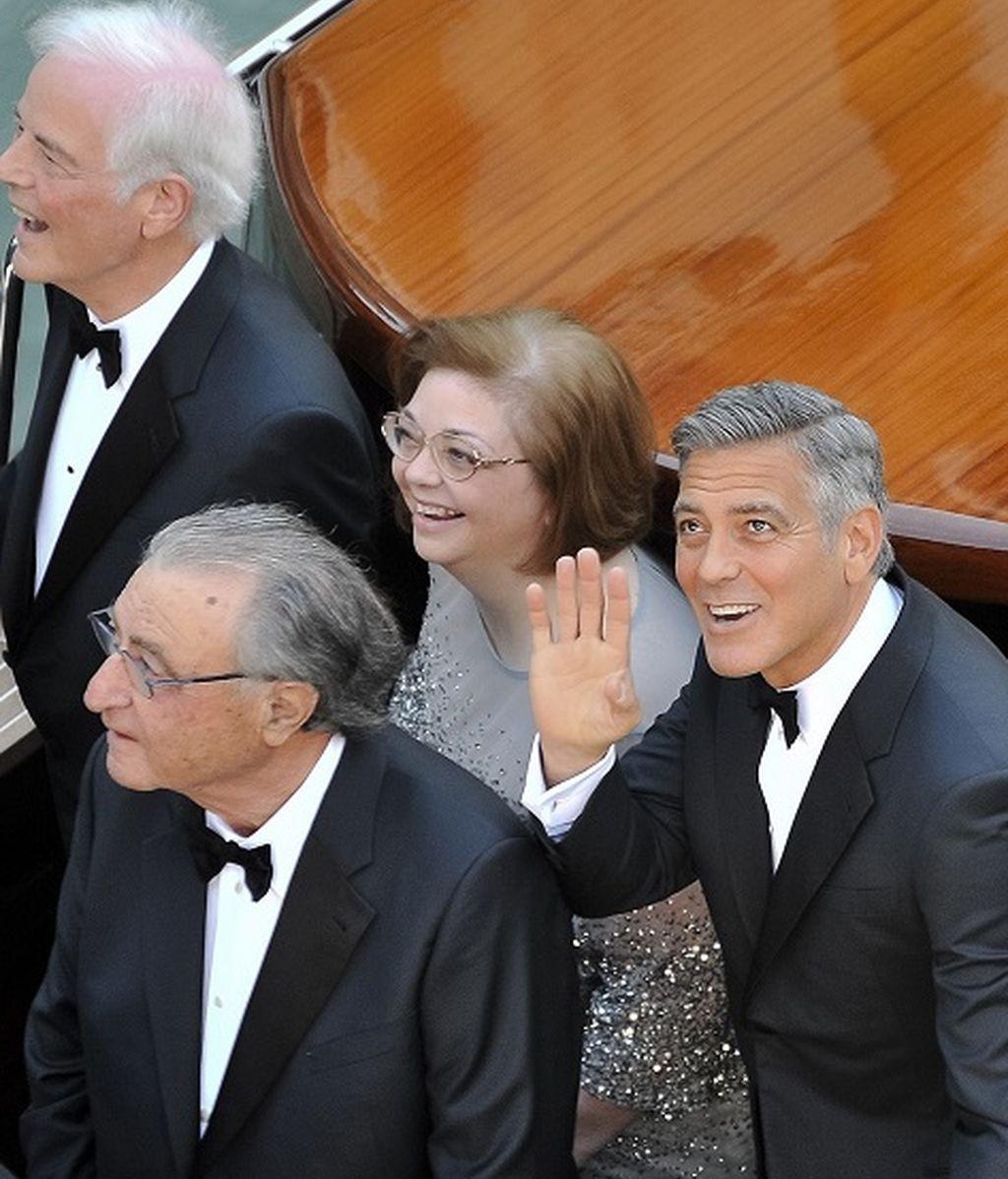 George Clooney junto a su padre Nick y la madre de Amal, Ramzi Alamuddin