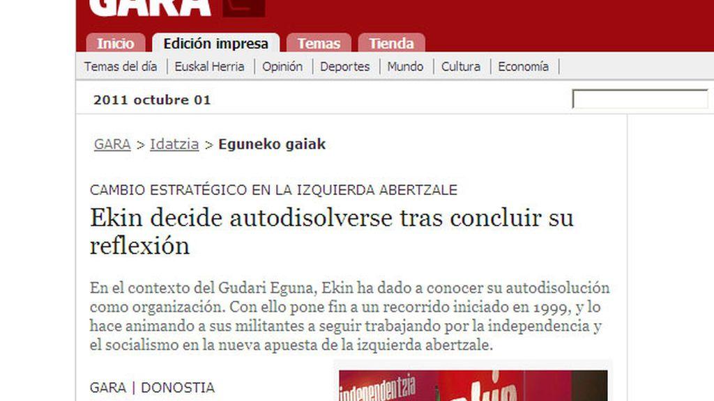 Dos miembros de la última dirección de Ekin han anunciado la disolución de la estructura del aparato político de ETA