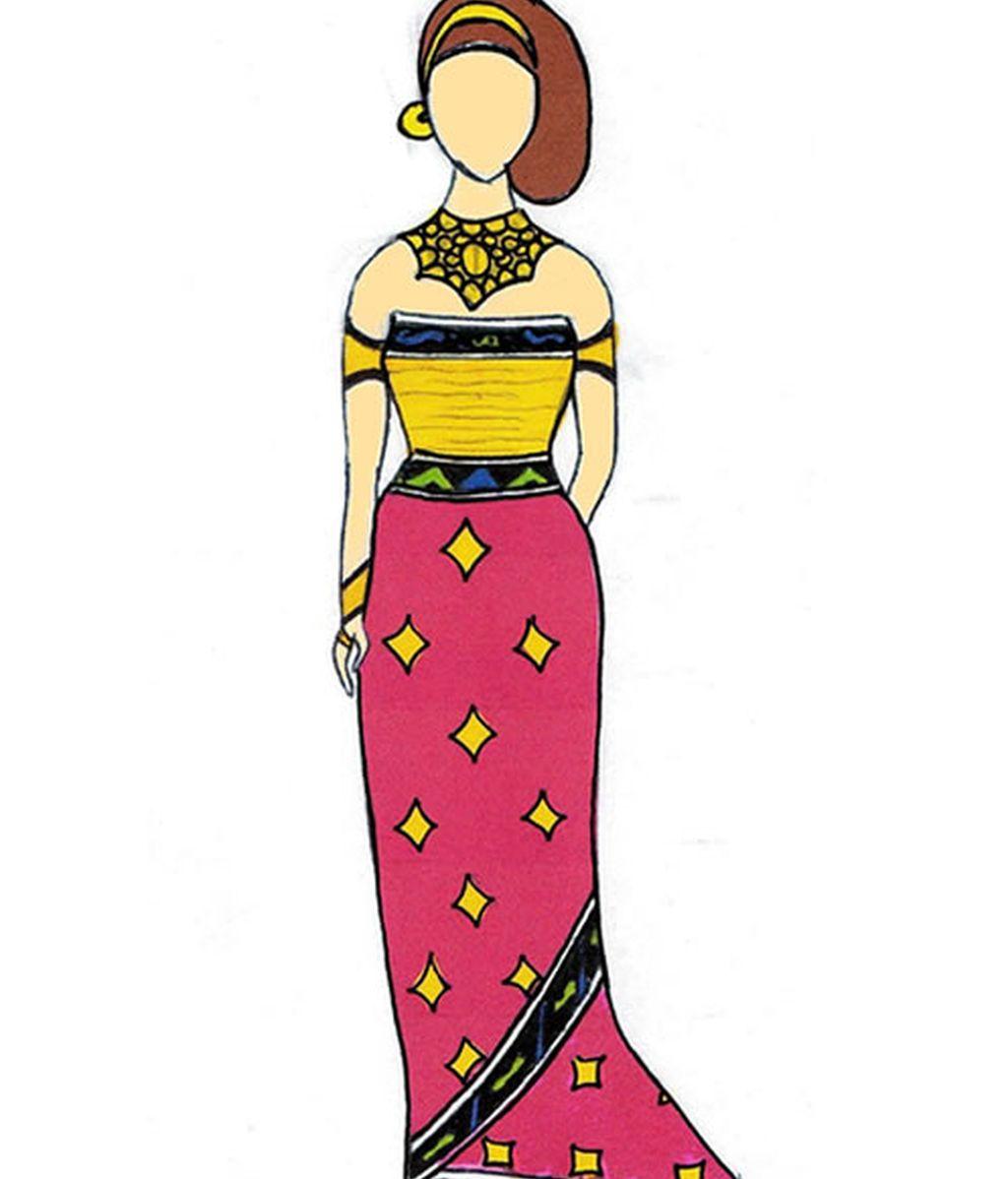 Vestido Fucsia y amarillo