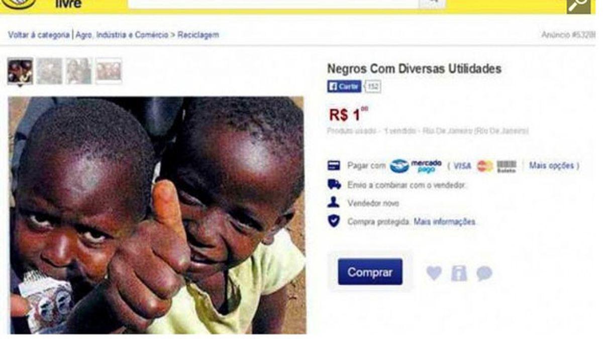 """""""Negros por un real"""", a la venta en un sitio web de compraventa"""