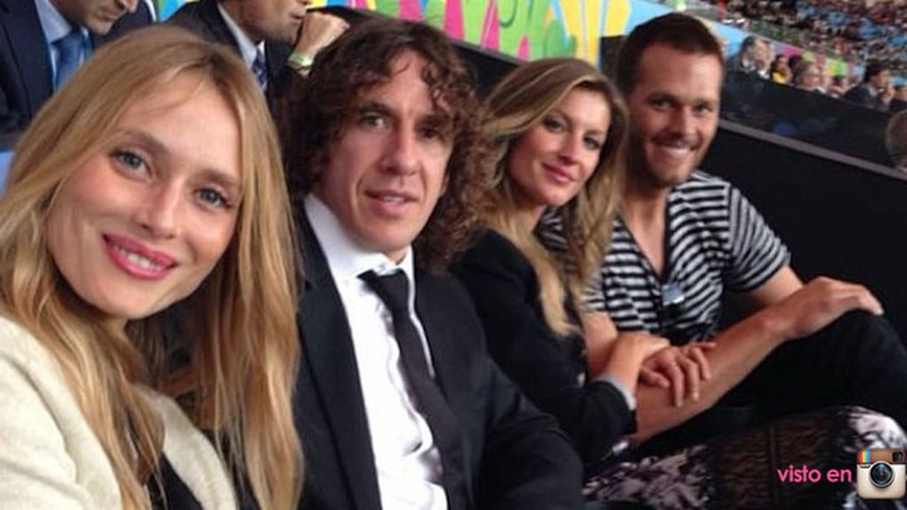 Vanesa Lorenzo y Carles Puyol compartieron grada con Gisele Bundchen