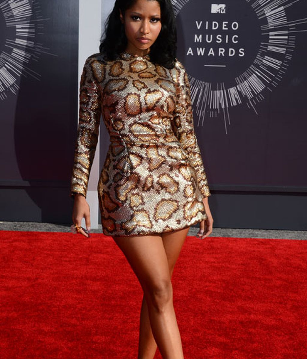 Nicki Minaj con un mini vestido con print animal