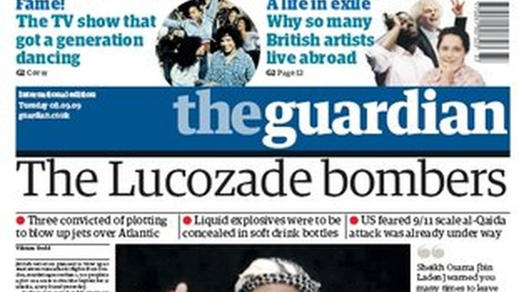 Una portada de la edición internacional de The Guardian del año 2009