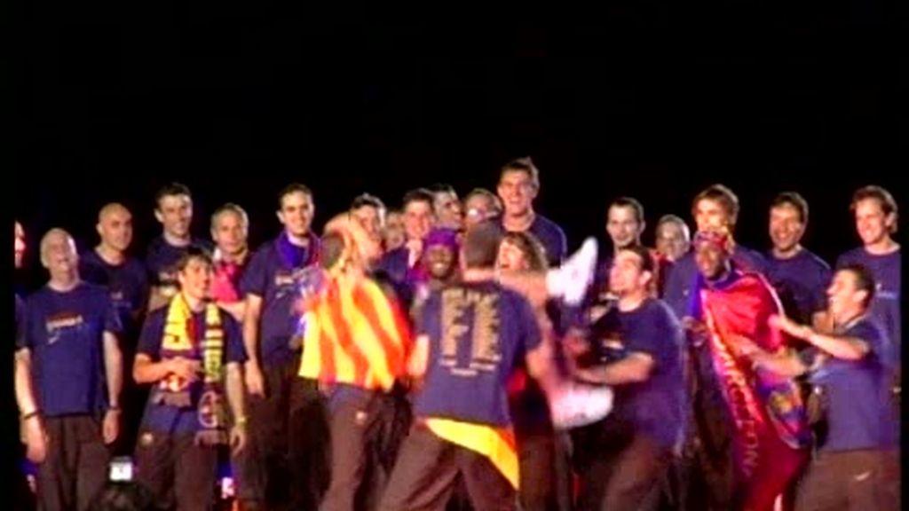 El Barcelona celebra su triplete