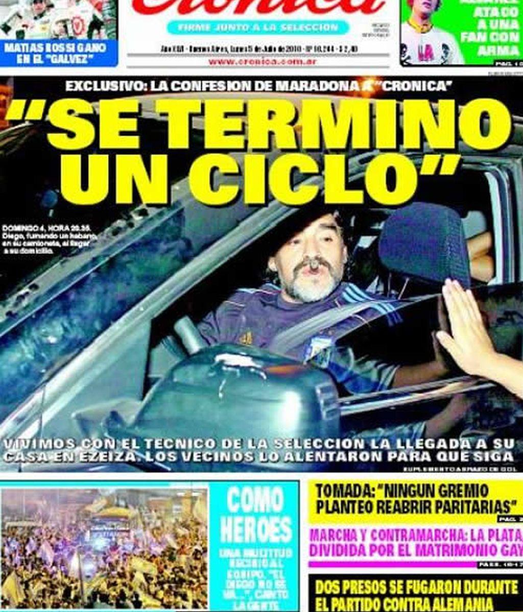 El diario argentino 'Crónica' anuncia en exclusiva que Maradona lo deja