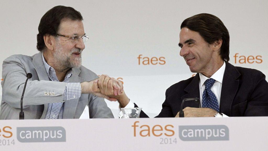 Rajoy y Aznar coinciden en la clausura de FAES. Foto: EFE