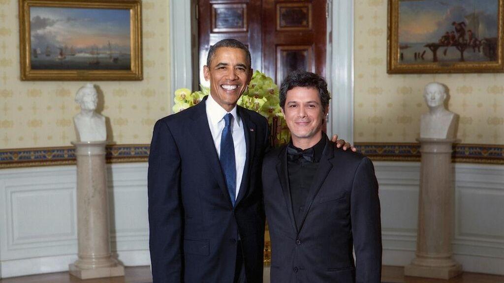 Alejandro Sanz en su encuentro con Barack Obama