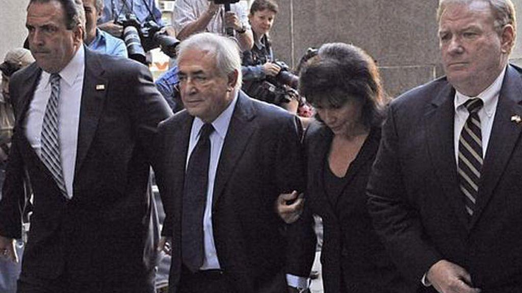 Dominique Strauss-Kahn , a su llegada al tribunal