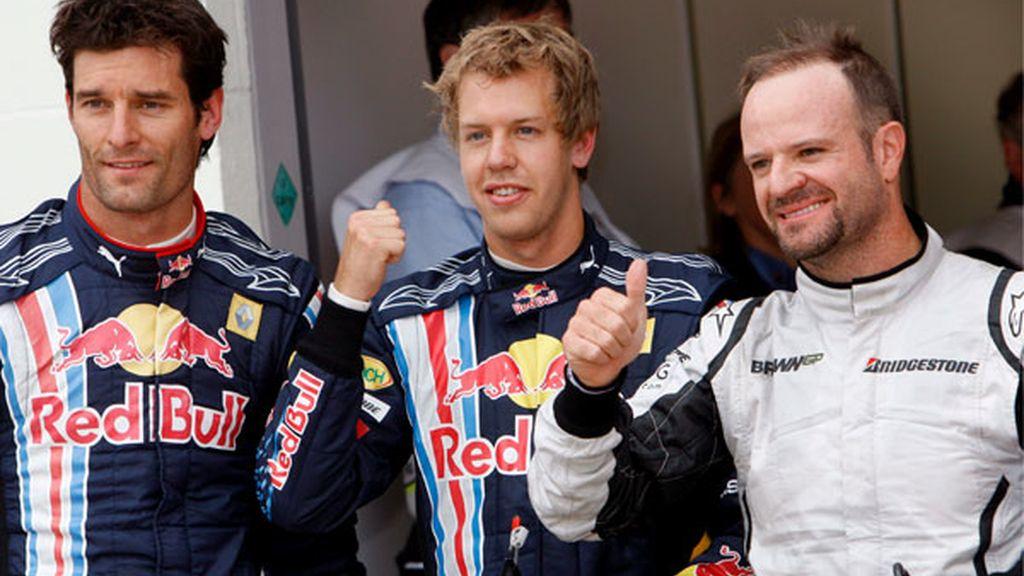 Webber, Vettel y Barrichello