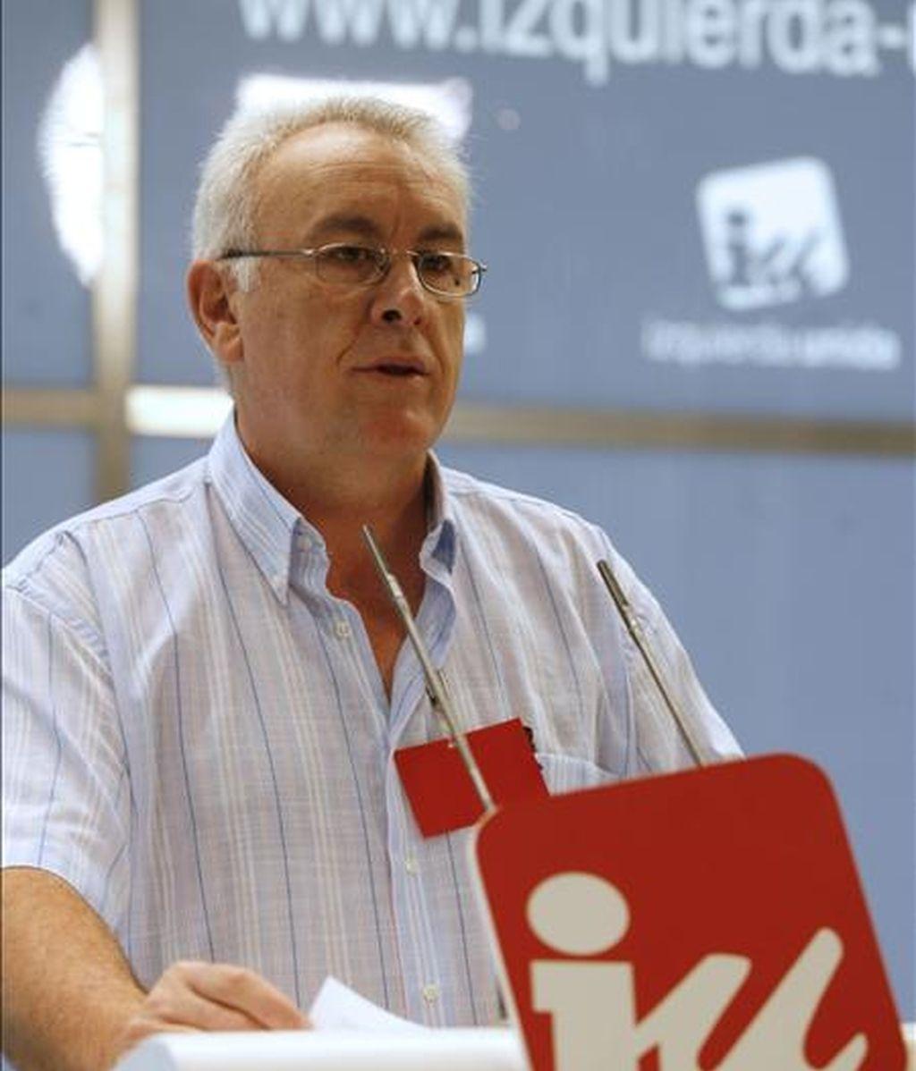El coordinador general de Izquierda Unida, Cayo Lara, durante su intervención en la reunión del Consejo Político de la formación. EFE