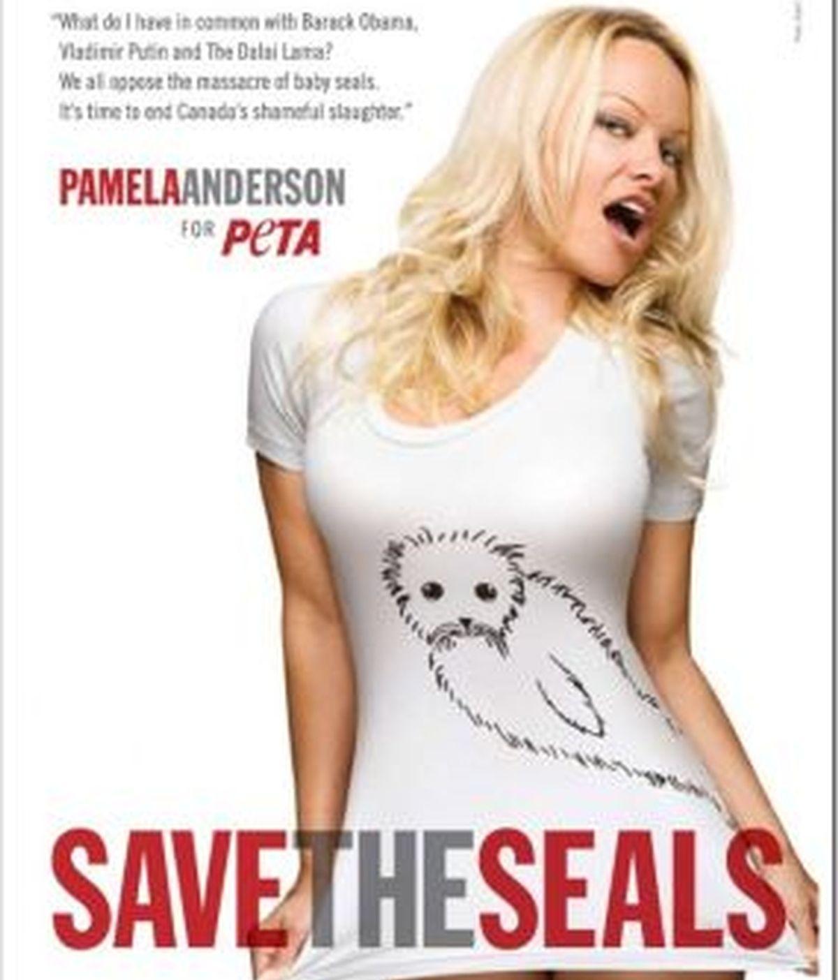 Pamela Anderson en el cartel de la campaña por frenar la matanza de focas en Canadá.