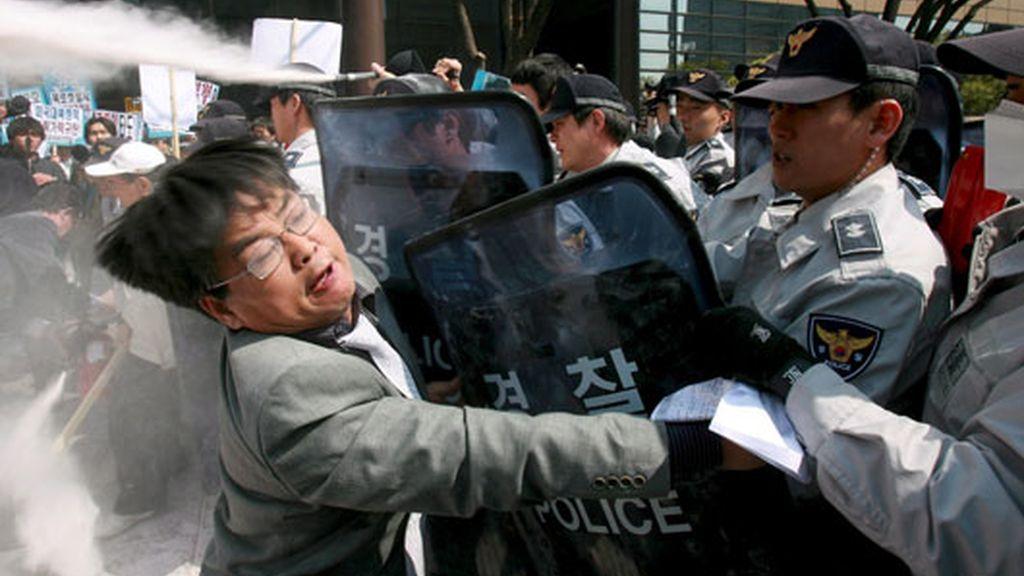 Manifestantes en Corea del Sur