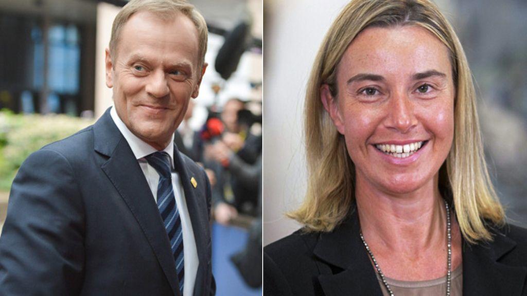 Donald Tusk y Federica Mogherini