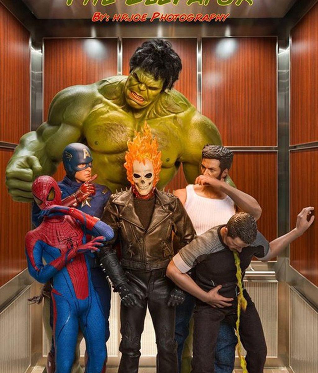 Un fotógrafo utiliza figuras articuladas para mostrar la vida cotidiana de Hulk, Iron Man o Thor