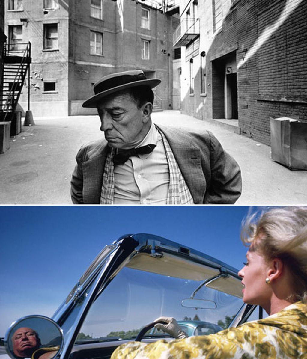 Buster Keaton, arriba; Tippi Hedren y Alfred Hitchcock