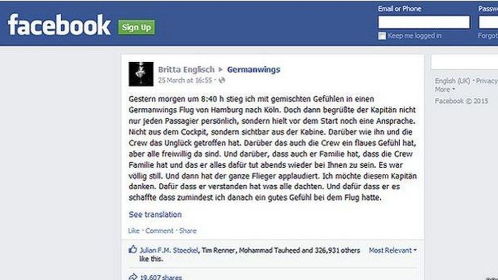El discurso de un piloto de Germanwings que está conmoviendo en las redes sociales