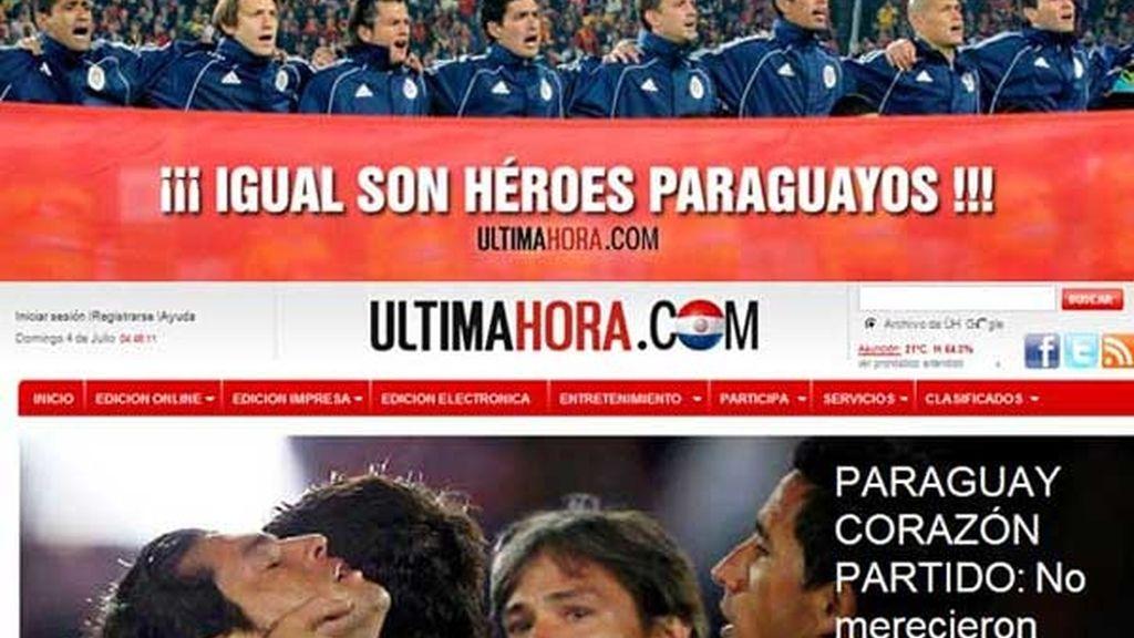 El diario 'Última hora' abría su edición digital reconociendo el gran partido de los paraguayos