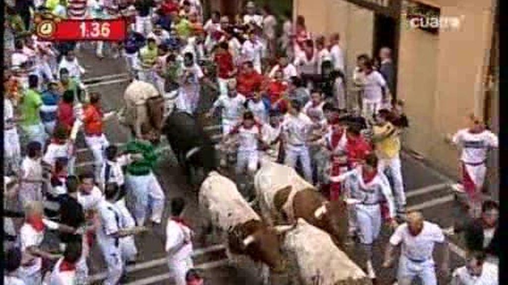 Ausencia de cornadas en el segundo encierro de San Fermín. Ganadería Cebada Gago