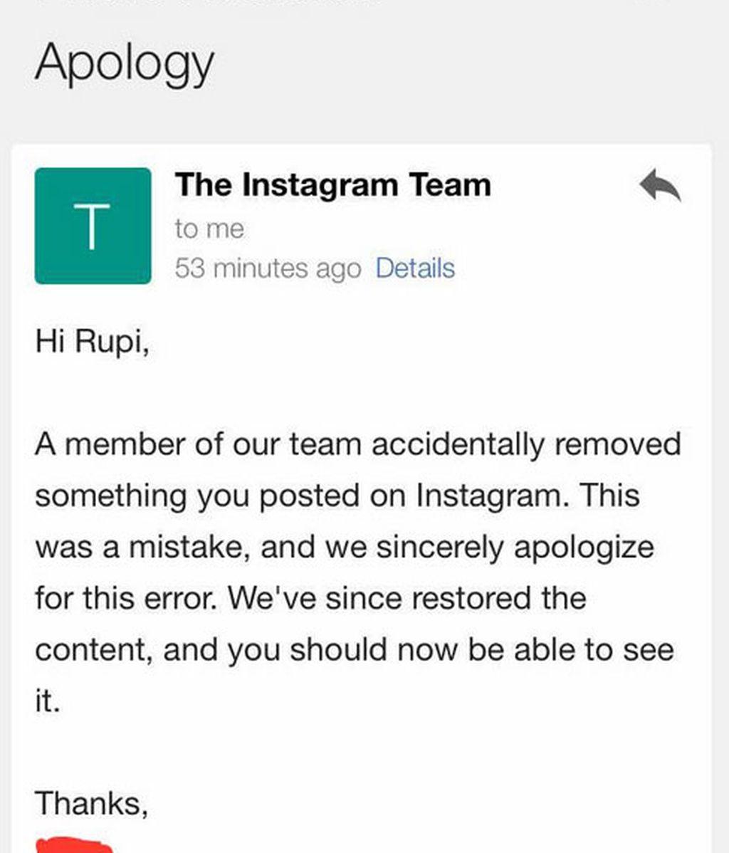 Disculpas de Instagram
