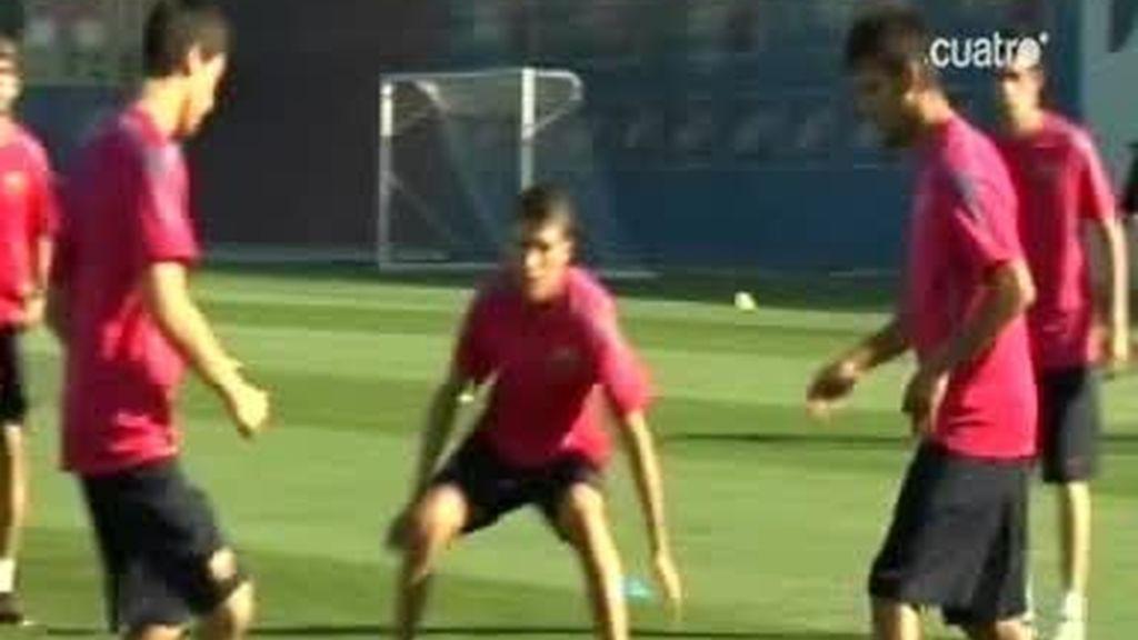 Cesc y los canteranos del Barça