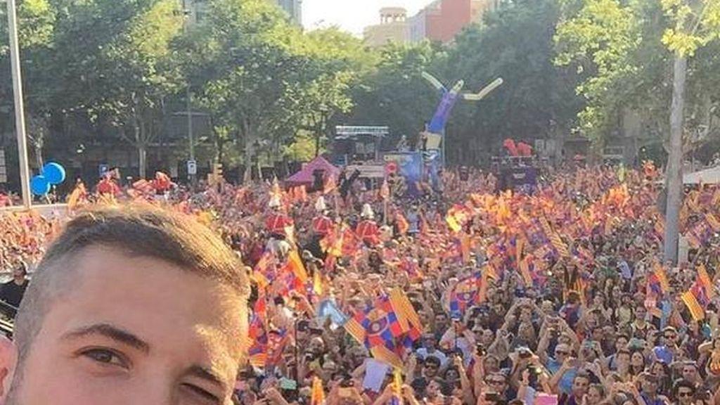 Jordi Alba en la celebración de la 'quinta'