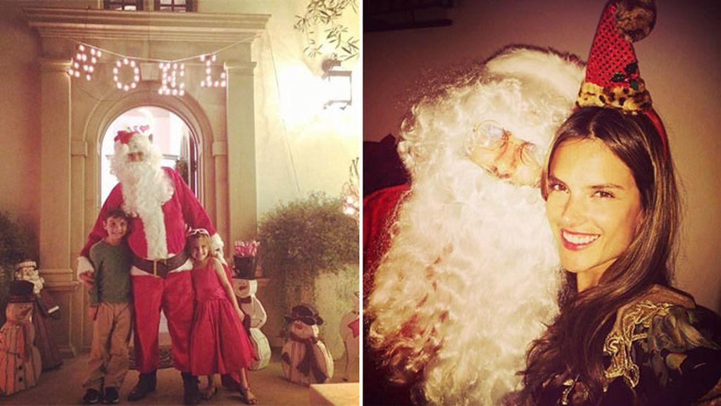 Los hijos de Alessandra Ambrosio con Papá Noel