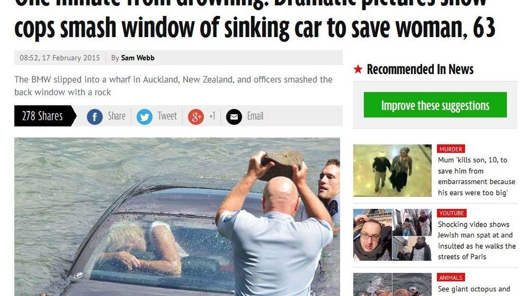 Salvan a una mujer de morir ahogada en el interior de su coche