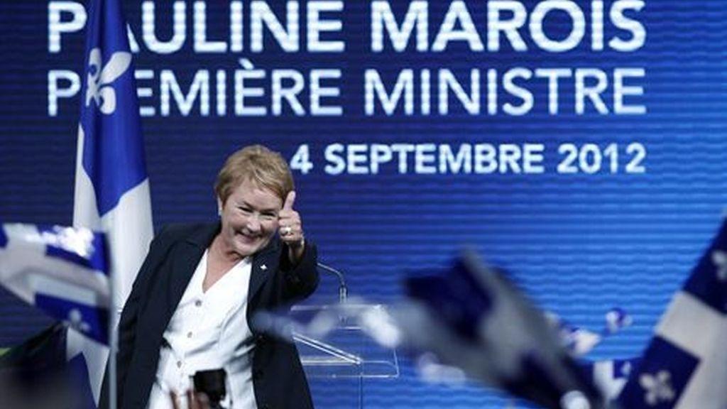 Pauline Marois, líder del partido quebequés, PQ, ganador de las elecciones.