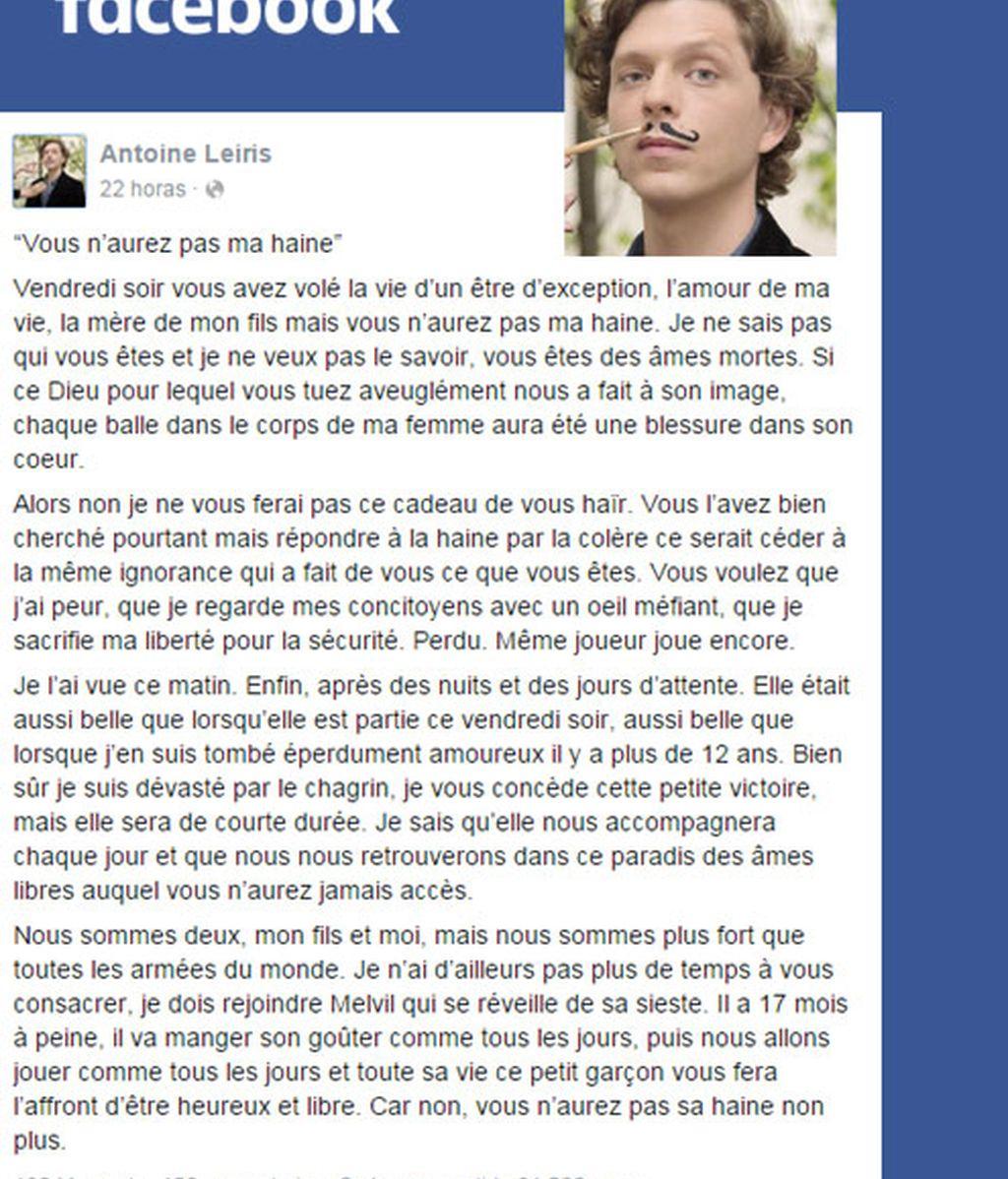 ,Antoine Leiris,carta viral contra terroristas