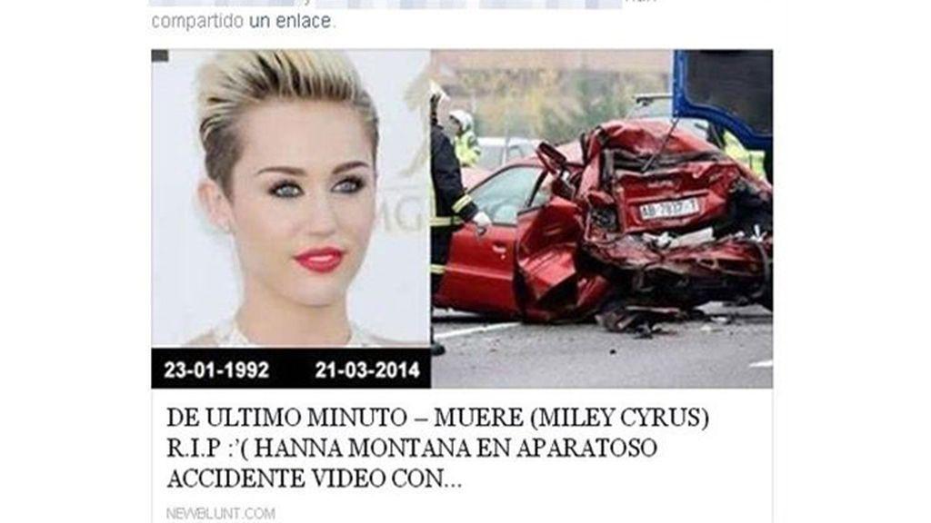 Un nuevo bulo propaga la muerte de Miley Cyrus en Facebook