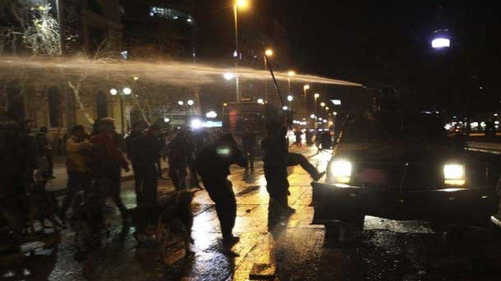 Enfrentamientos entre la policía y los estudiantes chilenos.