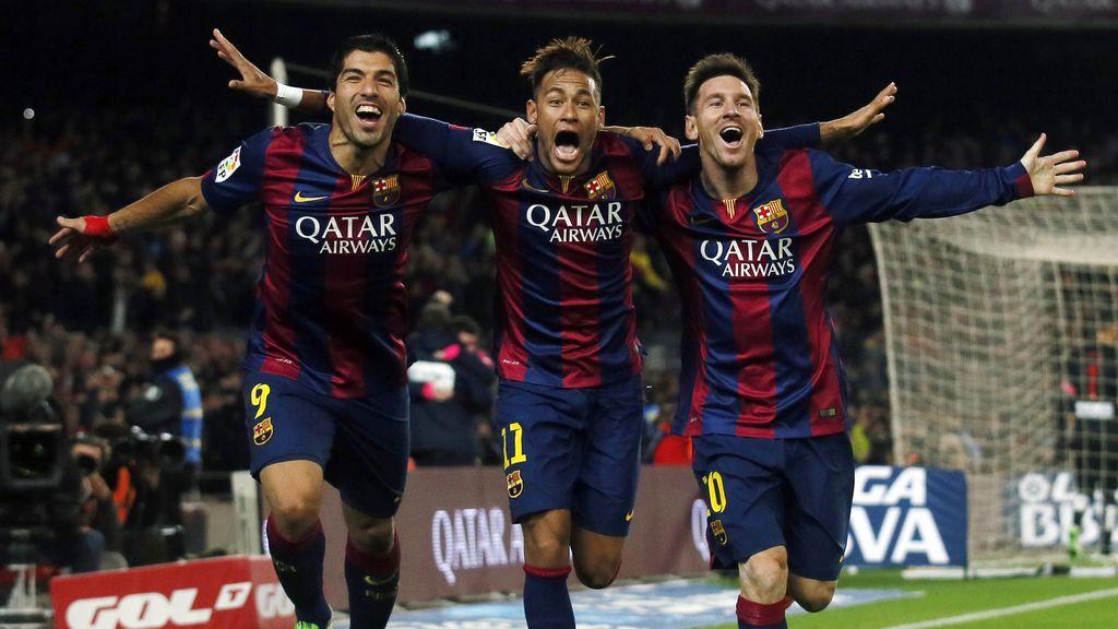 Messi, Neymar y Luis Suárez celebran su victoria ante el Atlético de Madrid