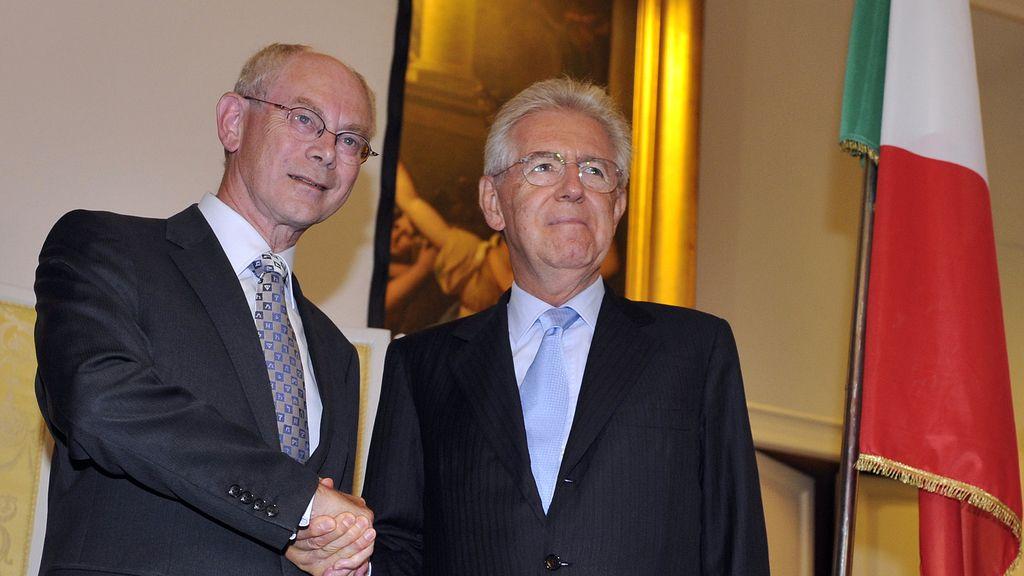 Herman Van Rompuy y Mario Monti. Foto: Reuters