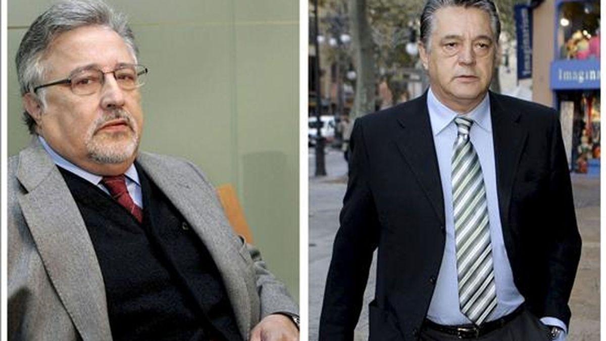 El ex director general de Ordenación del Territorio del Govern balear Jaume Massot (i) y el ex alcalde de la localidad mallorquina de Andratx Eugenio Hidalgo (d), que han ingresado en prisión esta tarde. EFE