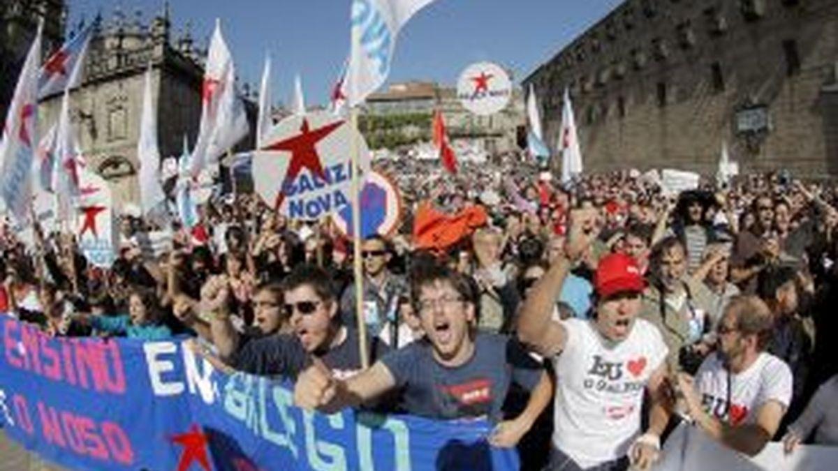 Cabecera de una de las pancartas de la manifestación. Foto: EFE