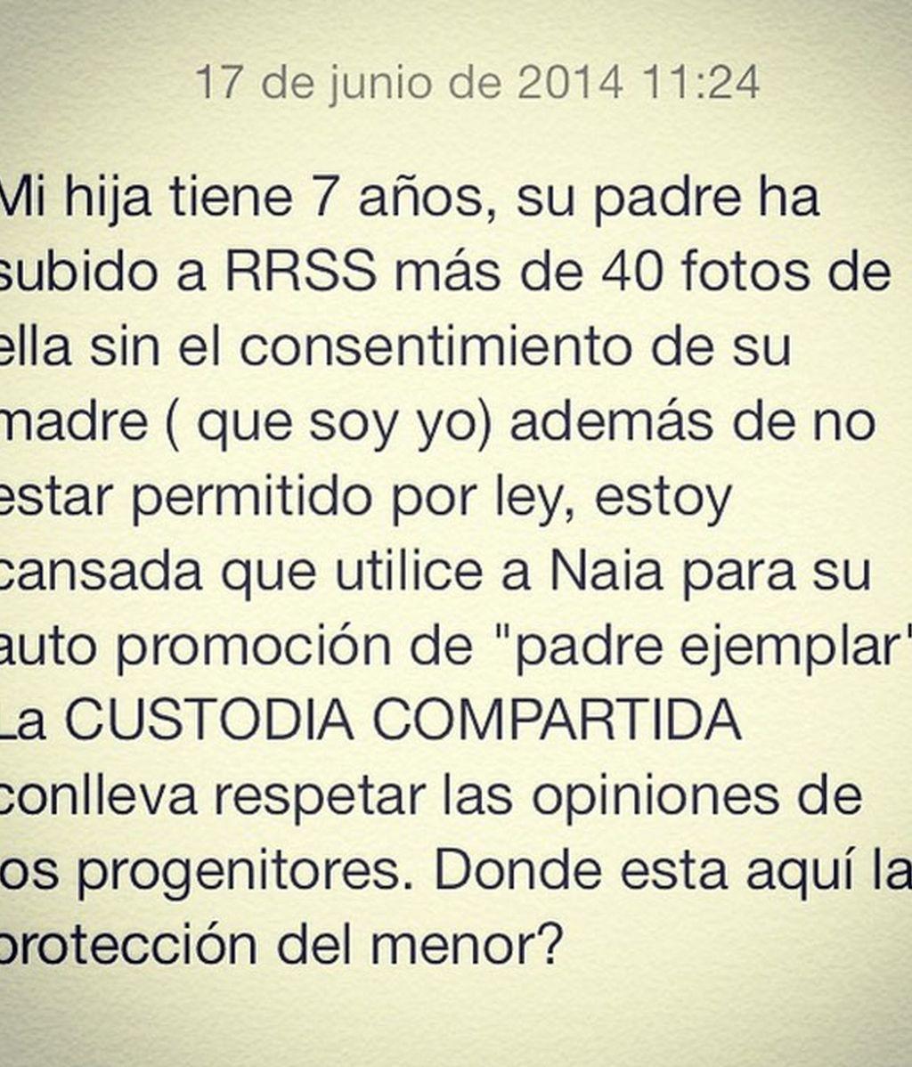 Texto de Laura Sánchez en Instagram
