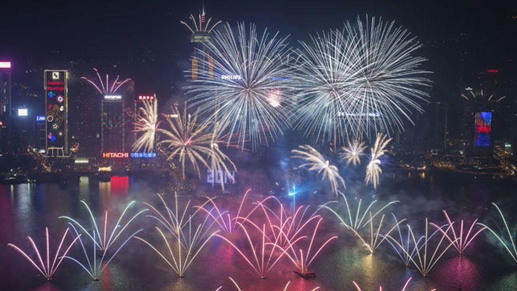 Espectáculo pirotécnico en Hong Kong