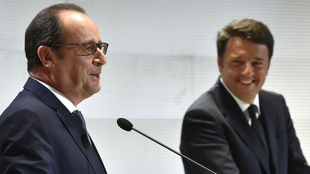 François Hollande y Matteo Renzi en la Expo de Milán