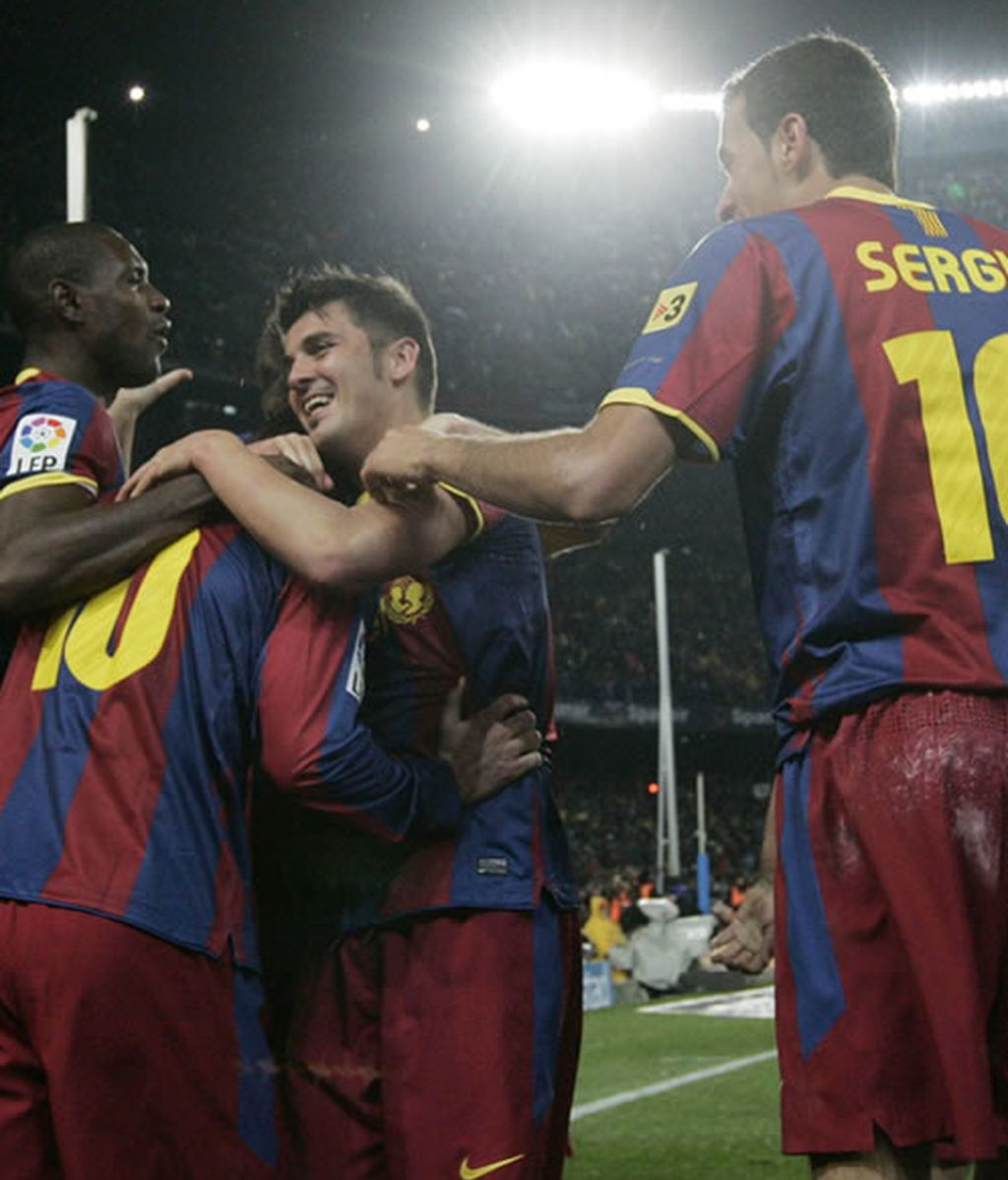 El Barça celebrando uno de los 5 goles anotados