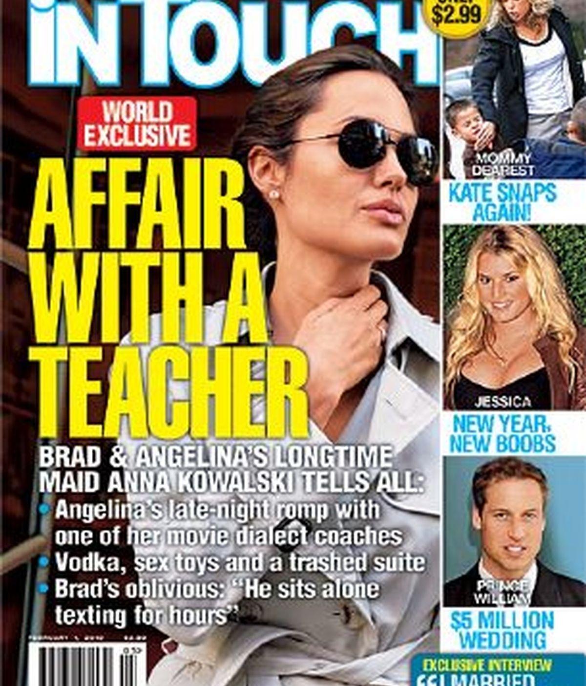 La portada de la revista que publica las indiscreciones de la supuesta infidelidad de Angelina Jolie. Foto In Touch Weekly