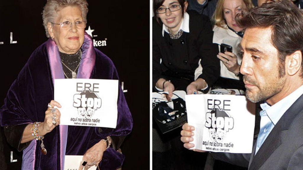 Pilar y Javier Bardem protestas contre un ERE en el estreno en Madrid de Skyfall