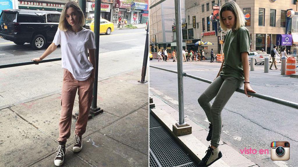 Con un look de contrastes, pasa por el neoyorkino...