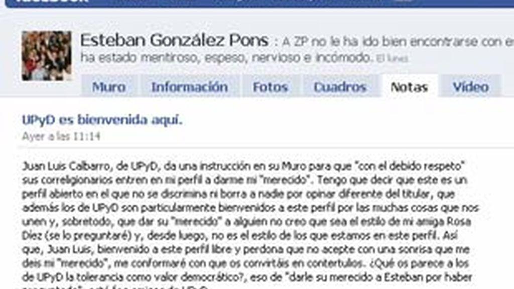Esteban González Pons explica participación en las redes sociales. Vídeo: Informativos Telecinco.