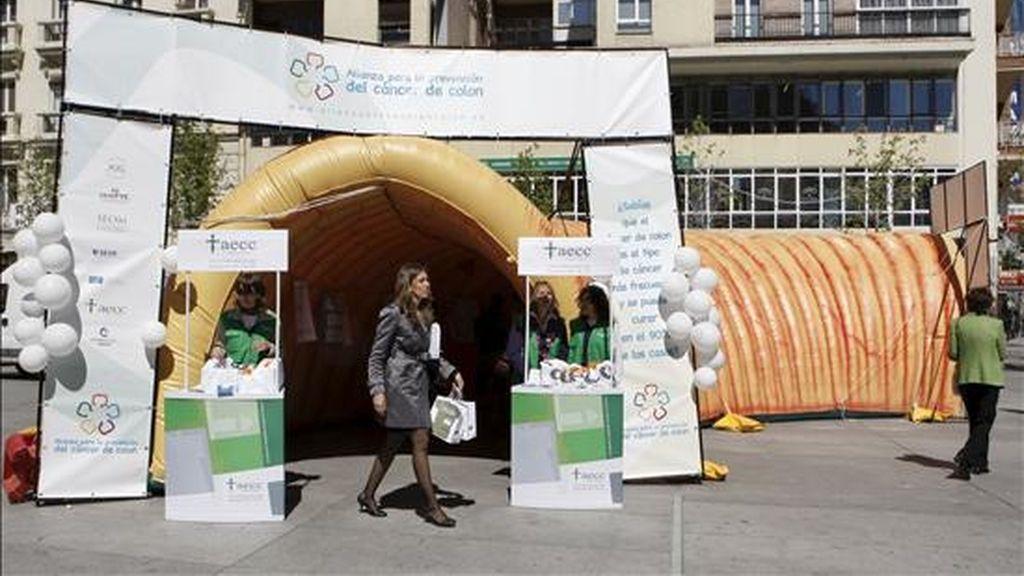 Instalación de un colon gigante en la Plaza Felipe II de Madrid como parte de una campaña divulgativa sobre el cáncer de colon que desarrolla la Alianza para la Prevención de esta enfermedad. EFE