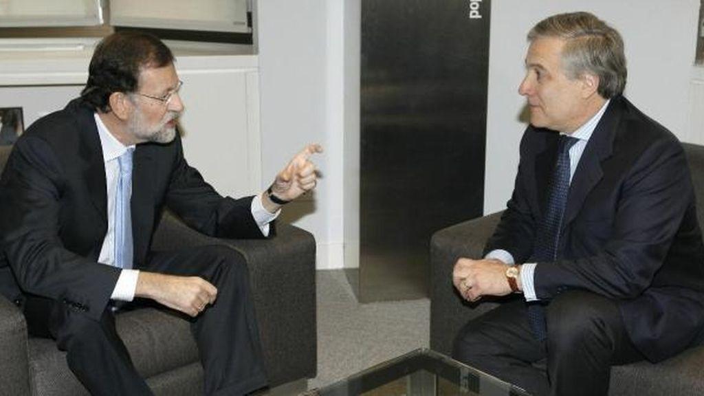 El líder del PP, Mariano Rajoy, se reúne con el vicepresidente de la Comisión Europea, Antonio Tajani