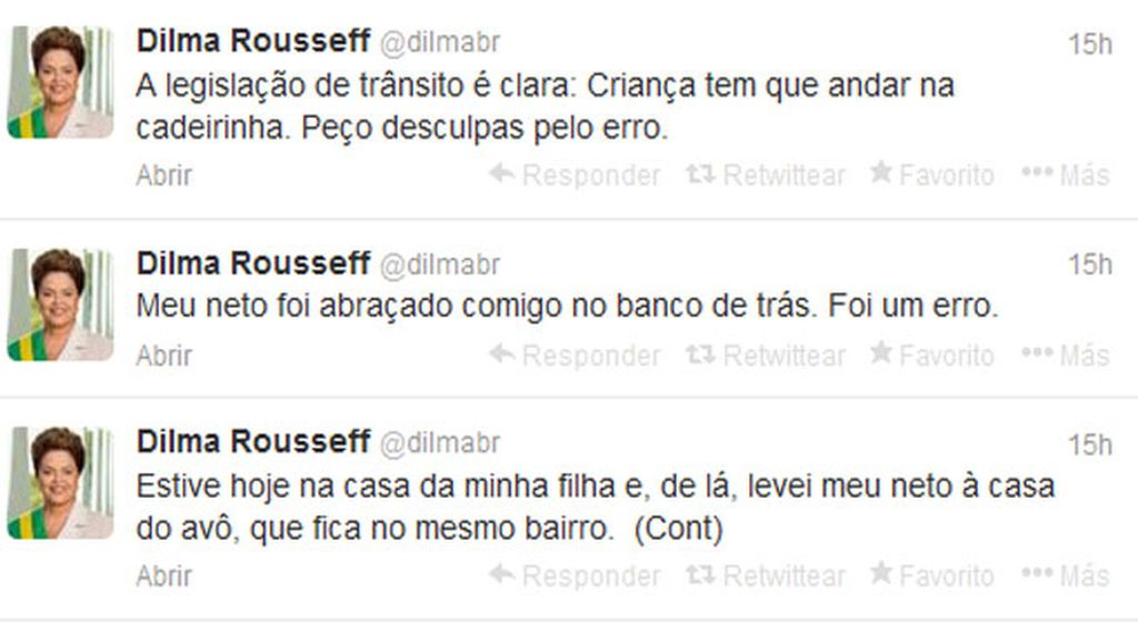 Dilma Rousseff comete una infracción de tráfico y pide disculpas por Twitter