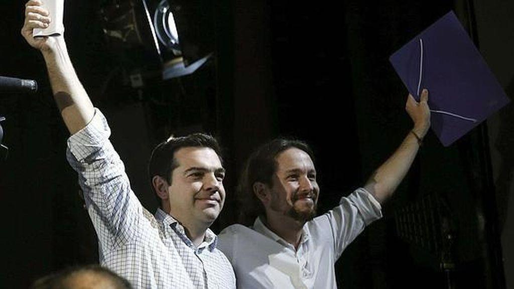 Pablo Iglesias con el líder de Syriza, Pavlos Tsipras